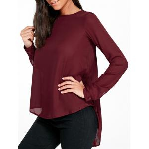 Long Sleeve Pleated Longline Blouse - Wine Red - 2xl