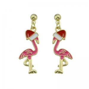 Ball Christmas Hat Bird Drop Earrings - Pink - 5xl