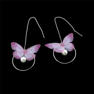 Faux Pearl Butterfly Circle Chain Earrings - PINK