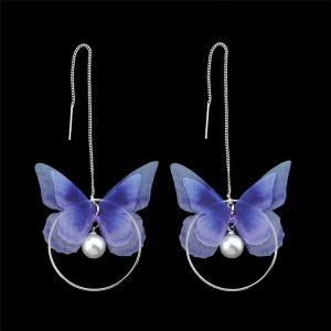 Faux Pearl Butterfly Circle Chain Earrings