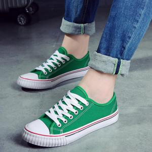 Low-top Canvas Sneakers - GREEN 38