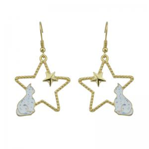 Cute Tiny Cat Star Hook Earrings - White - W20 Inch * L31.5 Inch