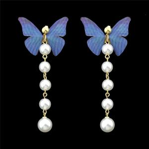 Artificial Pearl Butterfly Drop Earrings