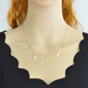 Alloy Leaf Chain Charm Necklace -