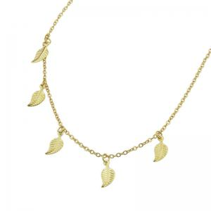 Alloy Leaf Chain Charm Necklace - GOLDEN