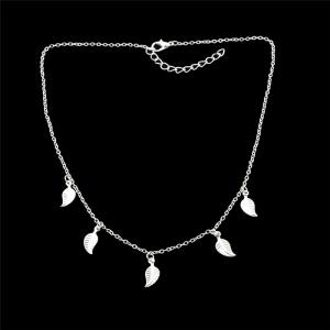 Alloy Leaf Chain Charm Necklace - SILVER