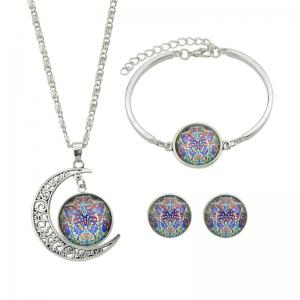 Butterfly Pattern Moon Necklace Bracelet Earrings
