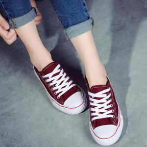 Low-top Canvas Sneakers - RED 39