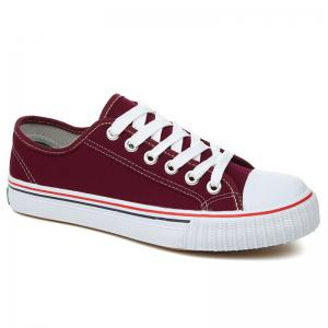 Low-top Canvas Sneakers - Red - 38