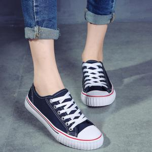 Low-top Canvas Sneakers - BLUE 39