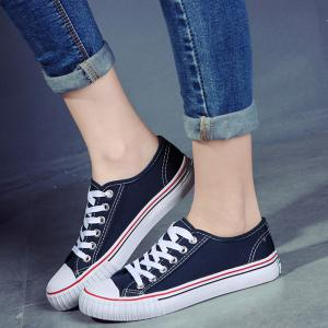 Low-top Canvas Sneakers - BLUE 40