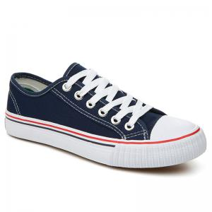Low-top Canvas Sneakers - Blue - 37