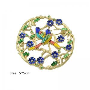 Rhinestoned Flower Bird Circle Brooch -