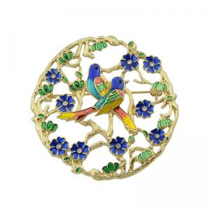 Rhinestoned Flower Bird Circle Brooch - Golden