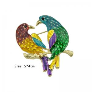 Alloy Doubled Bird Brooch - GOLDEN