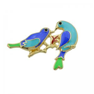 Alloy Double Bird Shape Brooch - Golden