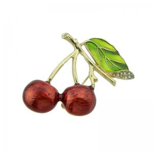 Rhinestone Leaf Litchi Fruit Brooch