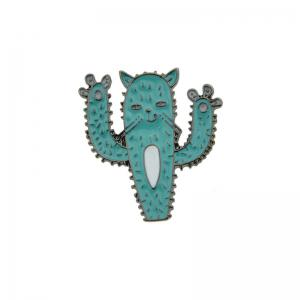 Funny Cactus Cat Tiny Brooch - Blue