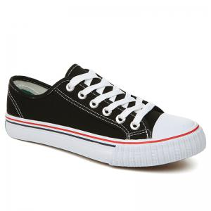 Classic Low-top Canvas Sneakers - Black - 44