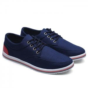 Lace Up Canvas Sneakers - Blue - 41