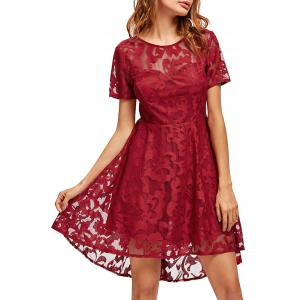 Open Back Lace Mesh Cocktail Party Dress - Red - Xl