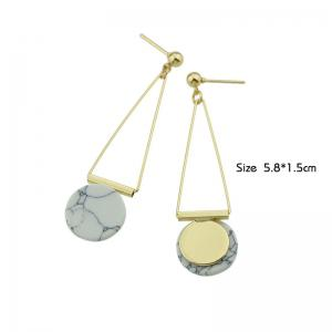Faux Rammel Disc Triangle Drop Earrings - WHITE