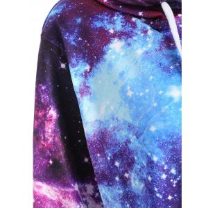 Zippered Pocket Starry Sky Print Hoodie - COLORMIX M