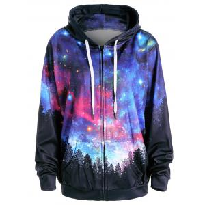 Starry Sky Forest Print Pocket Hoodie - Colormix - M