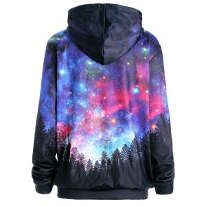 Starry Sky Forest Print Pocket Hoodie - COLORMIX M