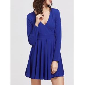 Mini V Neck Long Sleeve Skater Dress