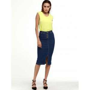 Knee Length Denim Pencil Skirt - DEEP BLUE M