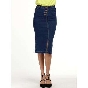 Knee Length Denim Pencil Skirt - Deep Blue - 2xl