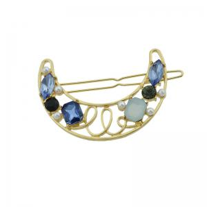 Faux Gem Hollow Out Moon Hair Clip - Bleu