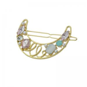 Faux Gem Hollow Out Moon Hair Clip - PINK