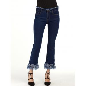 Cropped Flare Jeans with Raw Hem