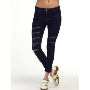 Ripped Cigarette Ankle Jeans