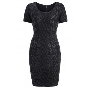 Short Sleeve Bronzing Jacquard Bandage Sheath Dress