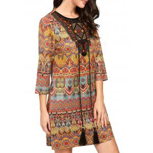 Tassel Drawstring Mini Print Behemian Dress - Colormix - Xl