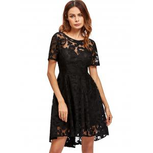 Open Back Lace Mesh Robe de cocktail - Noir S