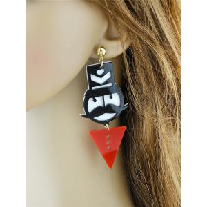 Funny Mustache Geometric Heart Figure Earrings - RED