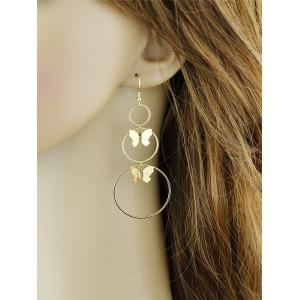 Alloy Metal Butterfly Circle Hook Earrings - GOLDEN
