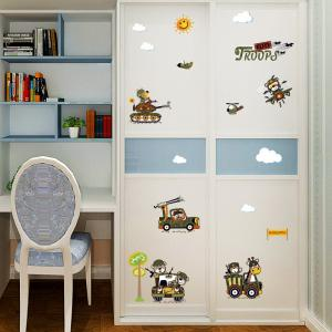 Cartoon Animal Troops Wall Art Sticker For Children Room