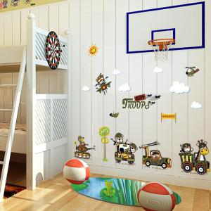 Cartoon Animal Troops Wall Art Sticker For Children Room - ARMY GREEN 50*70CM
