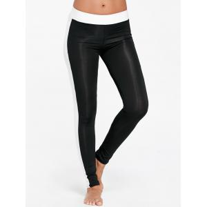 High Waist Two Tone Sports Tights - BLACK S