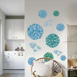 Floral Removable Wall Art Stickers For Bedrooms - ICE BLUE 60*90CM