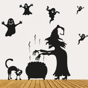 Halloween Witch Ghost Vinly Wall Art Stickers