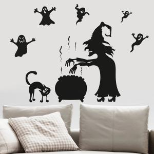 Halloween Witch Ghost Vinly Wall Art Stickers - BLACK 57*70CM