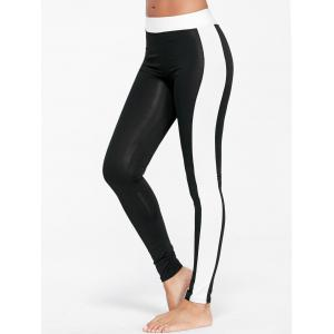 High Waist Two Tone Sports Tights - Black - Xl