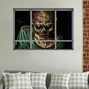 Halloween Window Zombie Removable 3D Wall Art Sticker - COLORMIX 48.5*68CM
