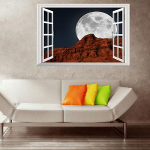 Window Moon Night Removable 3D Wall Art Sticker - COLORMIX 48.5*72CM